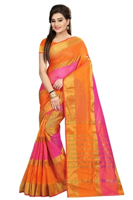 65135ee6ec Multicolor plain cotton saree with blouse - Sai Trendz - 1730274