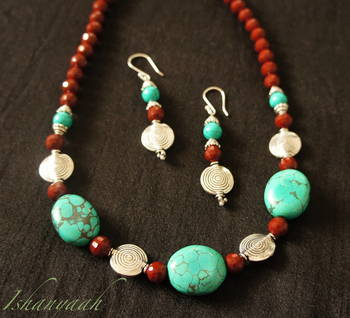 Boho Chic - Turqouise and Brown Necklace Set