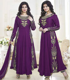 Buy Dark purple embroidered georgette semi stitched salwar with dupatta ayesha-takia-salwar-kameez online