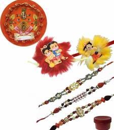 Buy Nice-looking kids and bhaiya rakhi of five with rakhi thali bhaiya-bhabhi-rakhi online