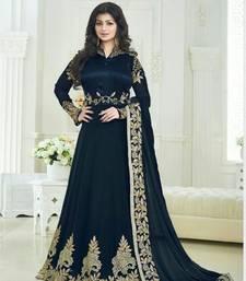 Buy Blue embroidered georgette semi stitched bollywood salwar kameez ayesha-takia-salwar-kameez online