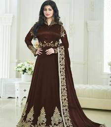 Buy Brown embroidered georgette semi stitched salwar with dupatta ayesha-takia-salwar-kameez online