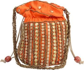 Orange Silk woven potli bags