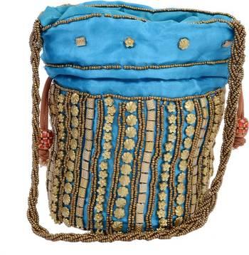 Blue Silk woven potli bags