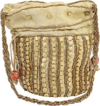 Golden Silk woven potli bags