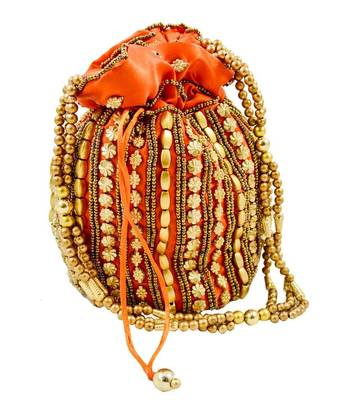 Orange Silk woven potli bags