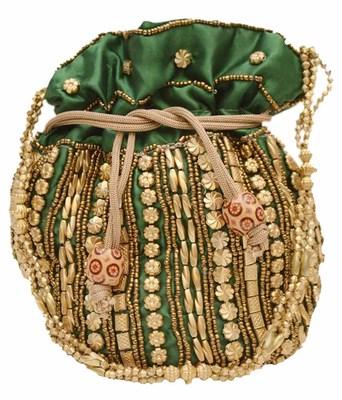 Green Silk woven potli bags