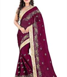 Buy wine embroidered satin saree with blouse satin-saree online