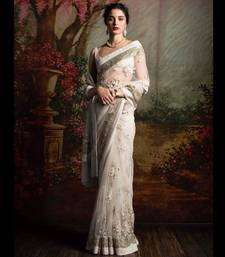 Buy Off white embroidered net saree with blouse net-saree online