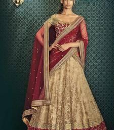Buy beige embroidered net lehenga with choli ghagra-choli online
