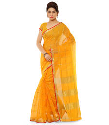 Yellow printed cotton silk saree with blouse