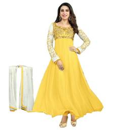 Buy Yellow embroidered georgette semi stitched salwar with dupatta semi-stitched-salwar-suit online