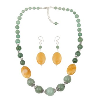 Exquisite Aventurine Beaded Necklace And Earrings Trendy Jewelry Set For Women