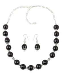 Buy Charming Garnet Beaded Necklace and Earrings Trendy Jewelry Set for Women necklace-set online