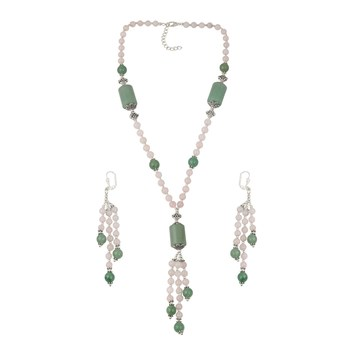 Enticing Aventurine Green, Rose Quartizite Beaded Necklace And Earrings Trendy Jewelry Set For Women