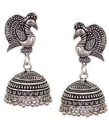 Buy Dancing Peacock Style Black Metal Silver Palted Oxidized Jhumka Jhumki Earrings  jhumka online