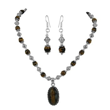 Tiger Eye Necklace Set With Assorted Pendants