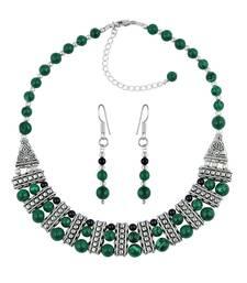 Buy Laurel Black Agate & Malachite Gemstone Beads Designer Two- Piece Necklace Set necklace-set online