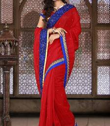 Buy Red Color Bhagalpuri Silk Party Wear Saree with Blouse bhagalpuri-silk-saree online