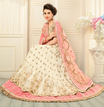 Beige embroidered silk semi stitched lehenga