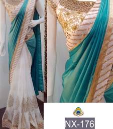 Buy Multicolor embroidered silk saree with blouse party-wear-saree online