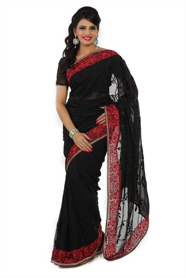 Black faux georgette saree with unstitched blouse (ask541)