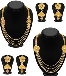 Buy Dazzling Jalebi 4 String Gold Plated Set Necklace Set Combo For Women fashion-deal online