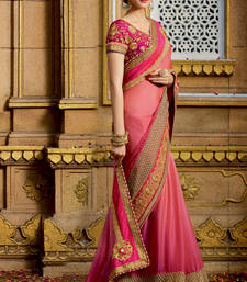 Buy Coral embroidered chiffon saree with blouse wedding-saree online