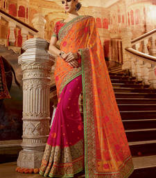 Buy Orange embroidered georgette saree with blouse wedding-saree online