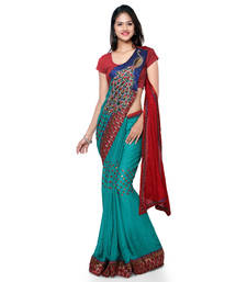 Buy Red embroidered jacquard saree with blouse one-minute-saree online