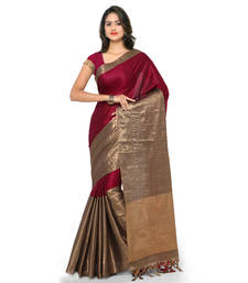 Buy Burgundy hand woven cotton silk saree with blouse handloom-saree online