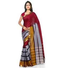 Buy Burgundy hand woven cotton silk saree with blouse cotton-silk-saree online