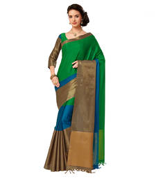 Multicolor printed cotton silk saree with blouse pongal-dhoti-saree