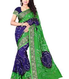 Buy Blue printed cotton silk saree with blouse bandhani-sarees-bandhej online