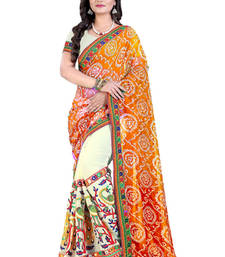 Buy Orange embroidered georgette saree with blouse bandhani-sarees-bandhej online
