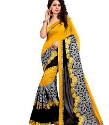 Buy Yellow embroidered cotton saree with blouse cotton-saree online