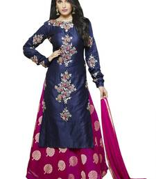 Buy Blue embroidered cotton unstitched salwar with dupatta women-ethnic-wear online