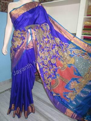 Buy Uppada Pattu With Pen Kalamkari Patch Work Online