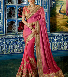 Buy Pink embroidered satin saree with blouse satin-saree online