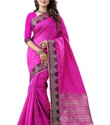Buy Pink hand woven cotton silk saree with blouse kanchipuram-silk-saree online