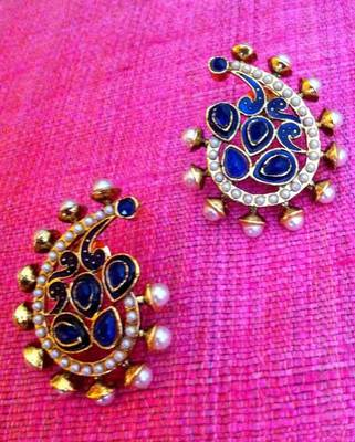 c4f3f4fc274 Pearl paisley with festive meenakari blue colourful stone indian vintage  earring v16