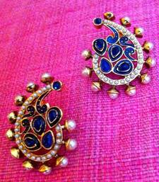 Pearl Paisley With Festive Meenakari Blue Colourful Stone Indian Vintage Earring V16 Online