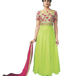 Buy Green plain georgette unstitched salwar with dupatta ethnic-suit online