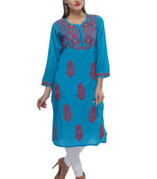 Buy Blue embroidered cotton embroidered-kurtis chikankari-kurti online