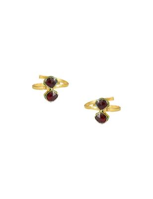 Maroon Red Jadau Kundan Toe Ring Jewellery for Women - Orniza