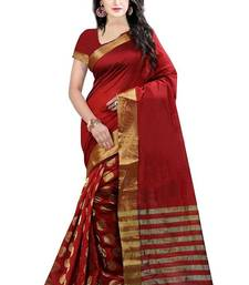 Buy Red embroidered cotton silk saree with blouse women-ethnic-wear online