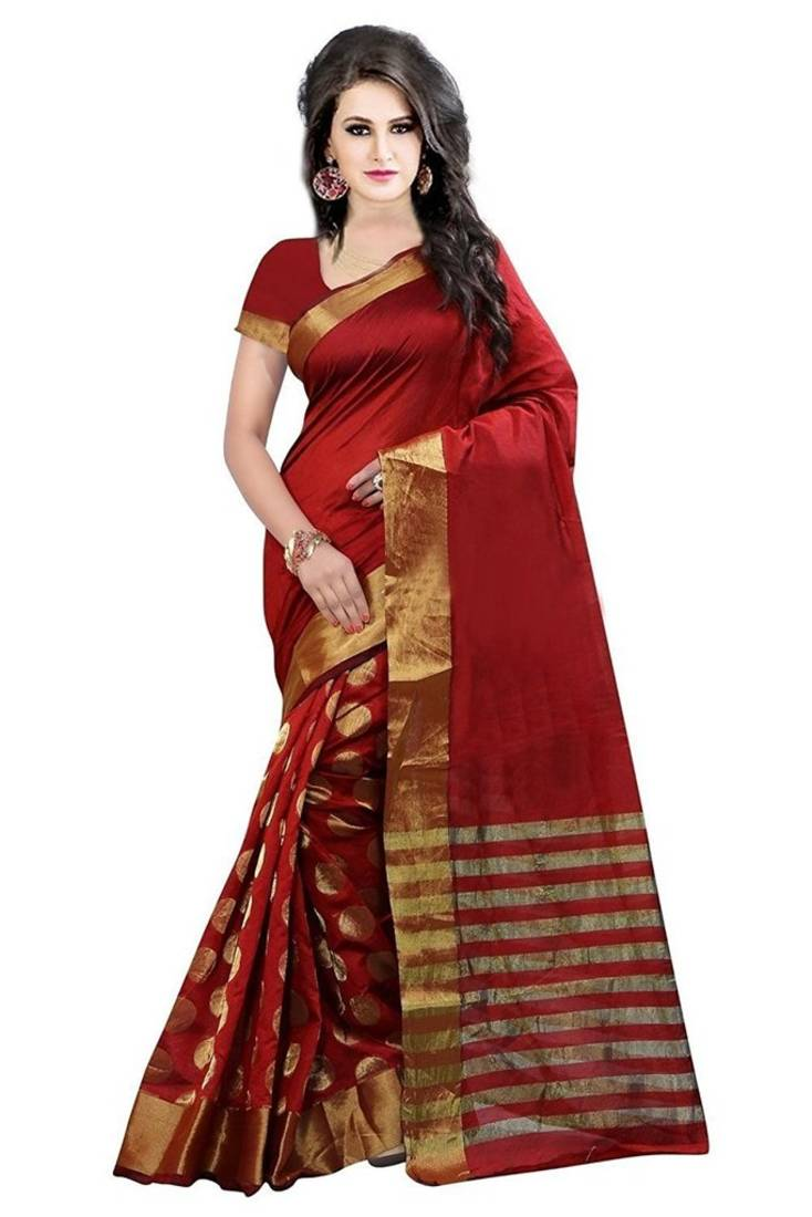 Buy Red Embroidered Cotton Silk Saree With Blouse Online