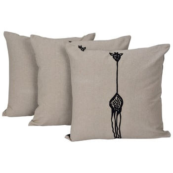 Set Of 3 Woolen Embroidered Cushion Cover