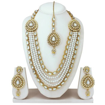 Gold plated stones kundans necklace earrings bollywood party necklace set