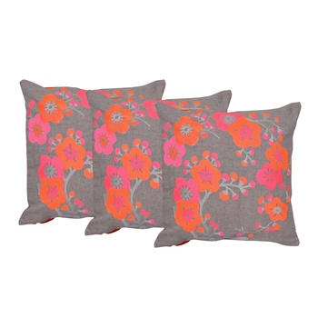 Set Of 3 Machine Embroidery Cushion Covers